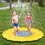 BATTOP Splash Play Mat 68in-Diameter Outdoor Water Play Sprinklers Summer Fun Backyard Play for Infants Toddlers and Kids (Yellow)
