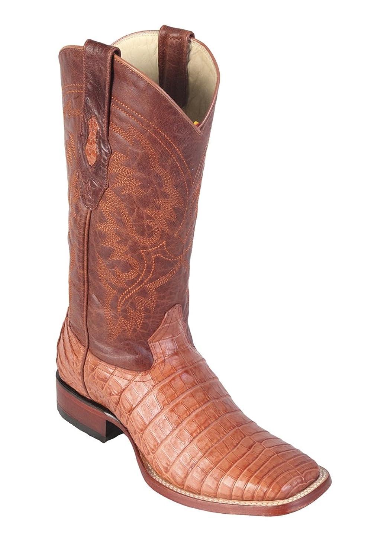 Genuine CROCODILE BELLY COGNAC WIDE SQUARE Toe Los Altos Men's Western Cowboy Boot 8228203