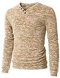 H2H Mens Casual Contrast Color V-Neck Long Sleeve Basic T-Shirt Top Desert US