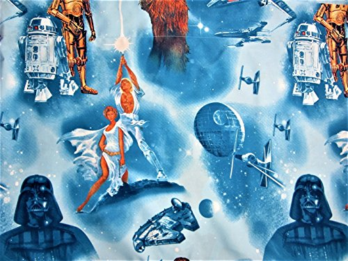 Retro Star Wars 100% Microfiber (FLAT SHEET ONLY) Size FULL Boys or Girls Kids Bedding
