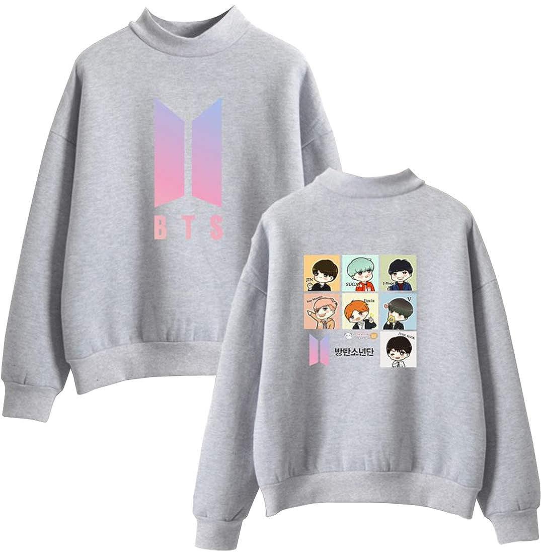 OLIPHEE Felpe BTS Senza Cappuccio Felpa Girocollo con Stile Boyfriend Fashion Oversize S-6XL per Ragazze e Donne