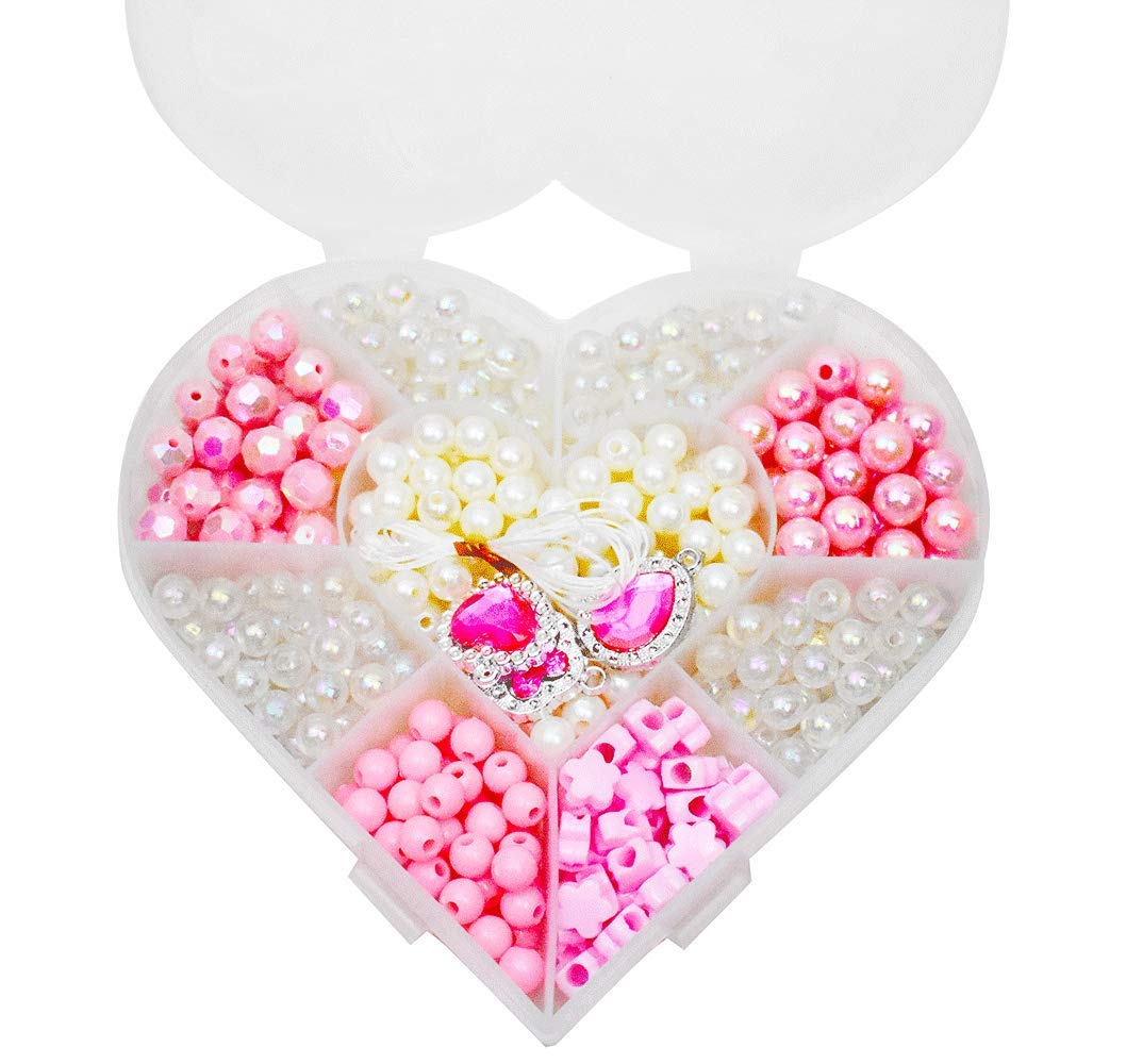 Pink Acrylic Beads in a Box for Children Necklace and Bracelet Crafts,Gift Kit for Kids DIY Beads Set with