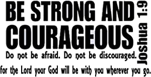 Joshua 1:9 - Bible Verse Scripture Vinyl Wall Decal (22x44, White)