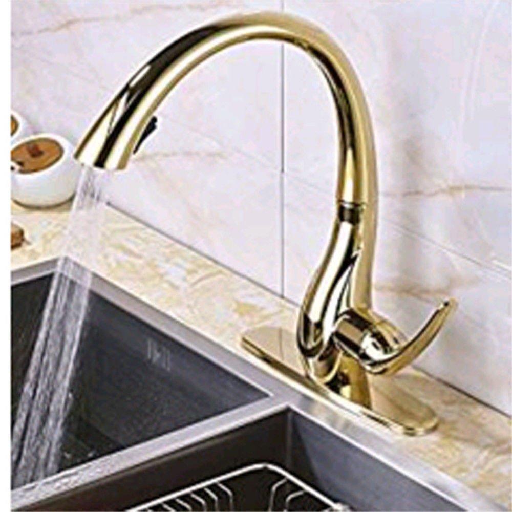 ANNTYE Waschtischarmatur Bad Mischbatterie Badarmatur Waschbecken Messing verGoldet Warmes und kaltes Wasser einzigen Griff einzelne Bohrung Badezimmer Waschtischmischer