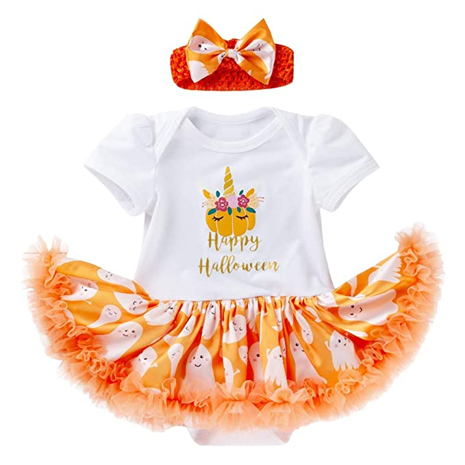 Baby Girl Halloween Outfits Long Sleeve Pumpkin Romper Tutu Skirt Bowknot Headbands Clothes Set