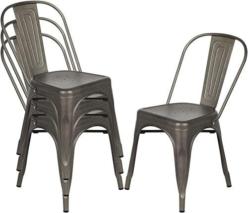 Metal Dining Chairs, Outdoor Indoor Stackable Chairs, Industrial Kitchen Chairs for Bistro Restaurant Patio, Set of 4 Gun