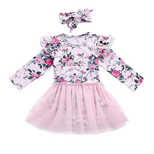 01e0457a22f4 GRNSHTS Baby Girls Floral Long Sleeve Romper with Gauze Dress (100   18-24
