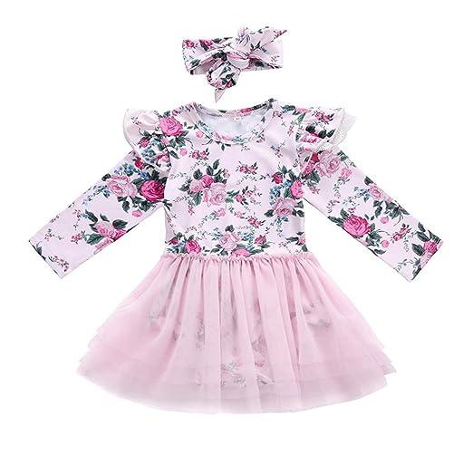 2d3a887e078 GRNSHTS Baby Girls Floral Long Sleeve Romper with Gauze Dress (100   18-24