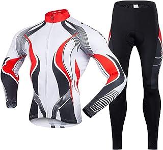 GUIGUI Tuta da Ciclismo Abbigliamento da Ciclismo da Uomo Manica Lunga + Pantaloni della Tuta Cuscino in Gel 3D Corse di Montagna Sportivo
