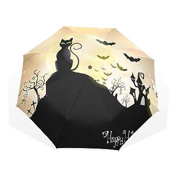GUKENQ Happy Halloween - Paraguas de Viaje para Gatos y Bates (Ligero, Anti Rayos