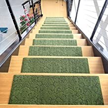 Designer Indoor Stair Mats, Ultra-Thin Microfiber Stair Carpet with Slip-Resistant Rubber Backing to Reduce Slipping Risk - Quick and Easy to Install- Premium Quality (9x26, Green/Set of 7)