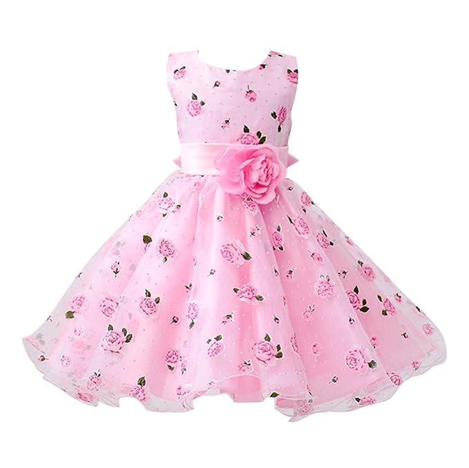 Hibote ragazze prima comunione abiti stampa floreale vestito per la festa  di nozze  Amazon.it  Abbigliamento 5ac2a1edfa7