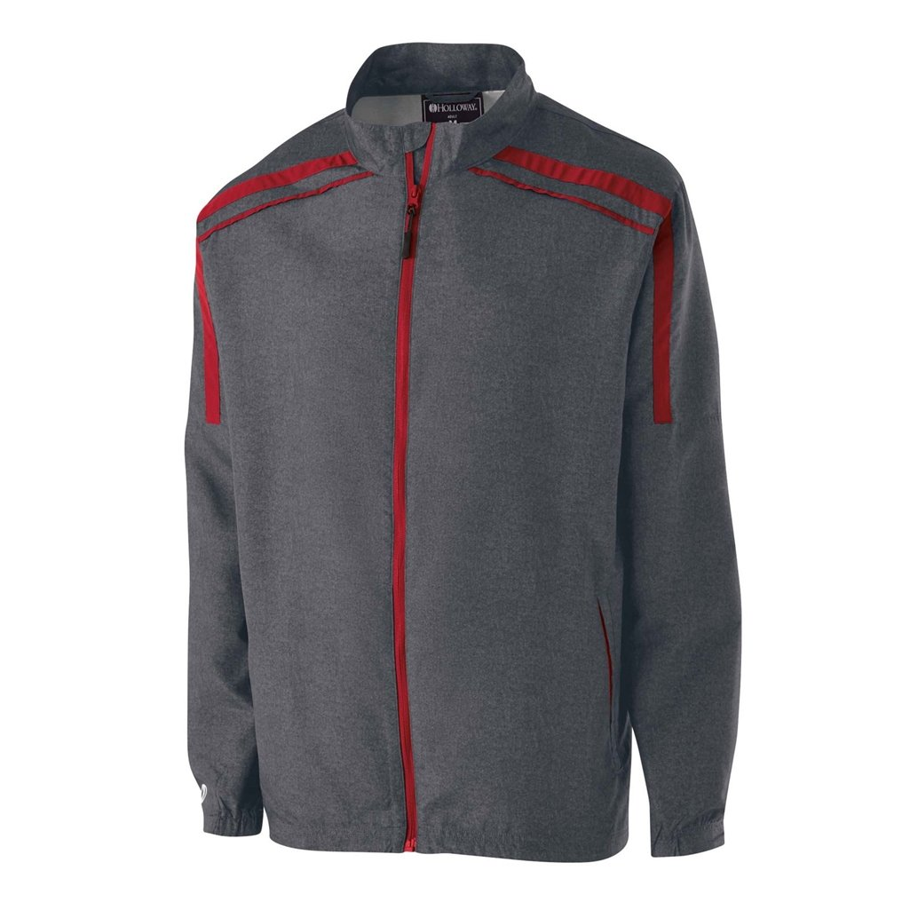 Holloway Raider Youth Lightweight Jacket (Small, Carbon Print/Scarlet) by Holloway