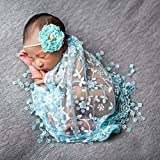 FUA® Newborn Photo Props *14 Colors to Choose From* Floral Lace Layers (Light Blue)