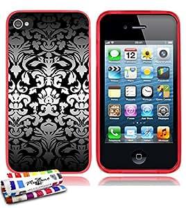 Carcasa Flexible Ultra-Slim APPLE IPHONE 4S de exclusivo motivo [Barroco blanco] [Roja] de MUZZANO  + ESTILETE y PAÑO MUZZANO REGALADOS - La Protección Antigolpes ULTIMA, ELEGANTE Y DURADERA para su APPLE IPHONE 4S