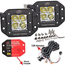 House Tuning 40W Flush Mount LED Pods Spot with Harness Backup Reverse Light for Trucks Atv Utv Jeep (Sell as Sets)