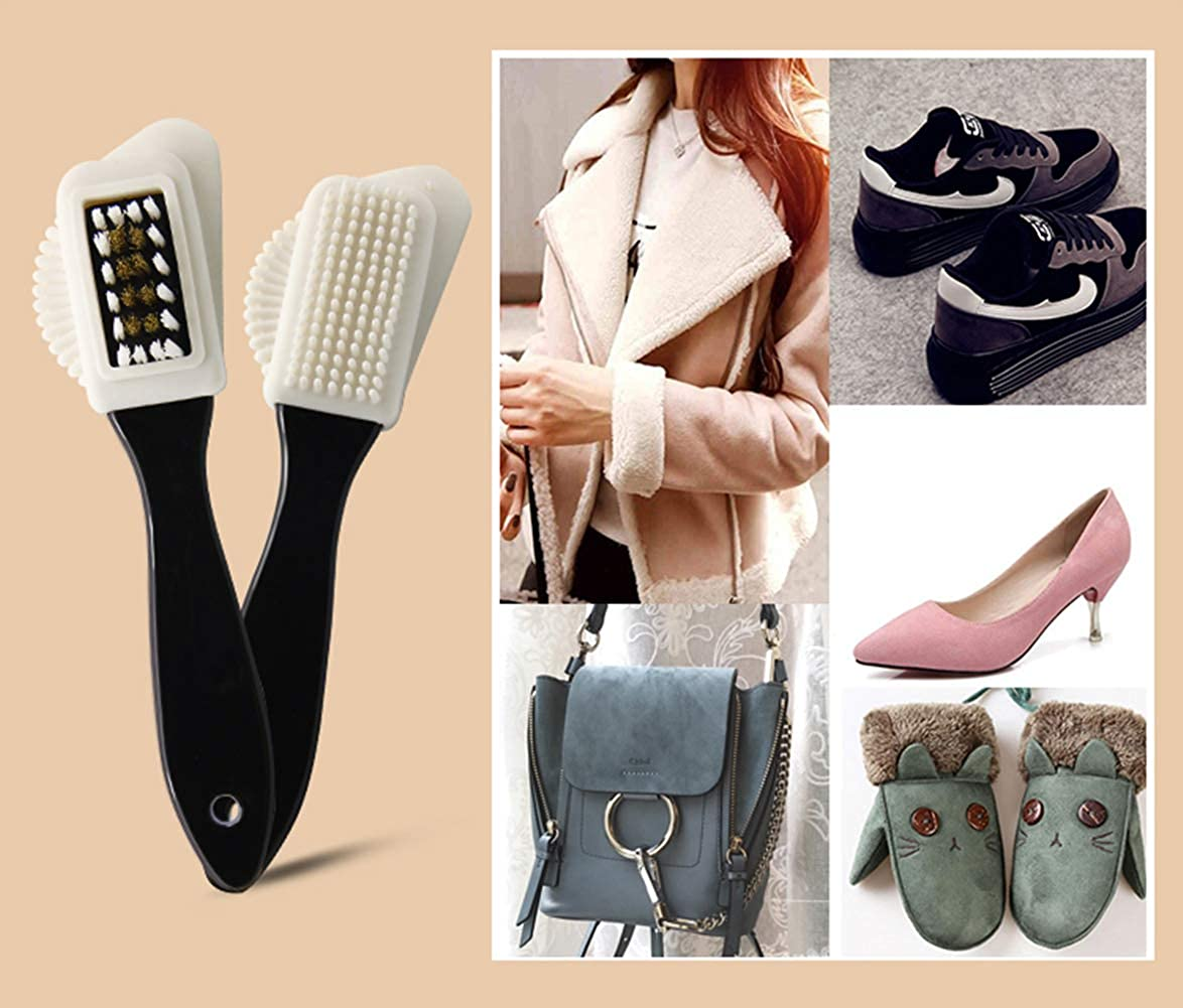 Bag 5 Pieces Shoe Brush Kit,Professional 100/% Soft Horsehair Bristles and Suede Brush for Leather Boot