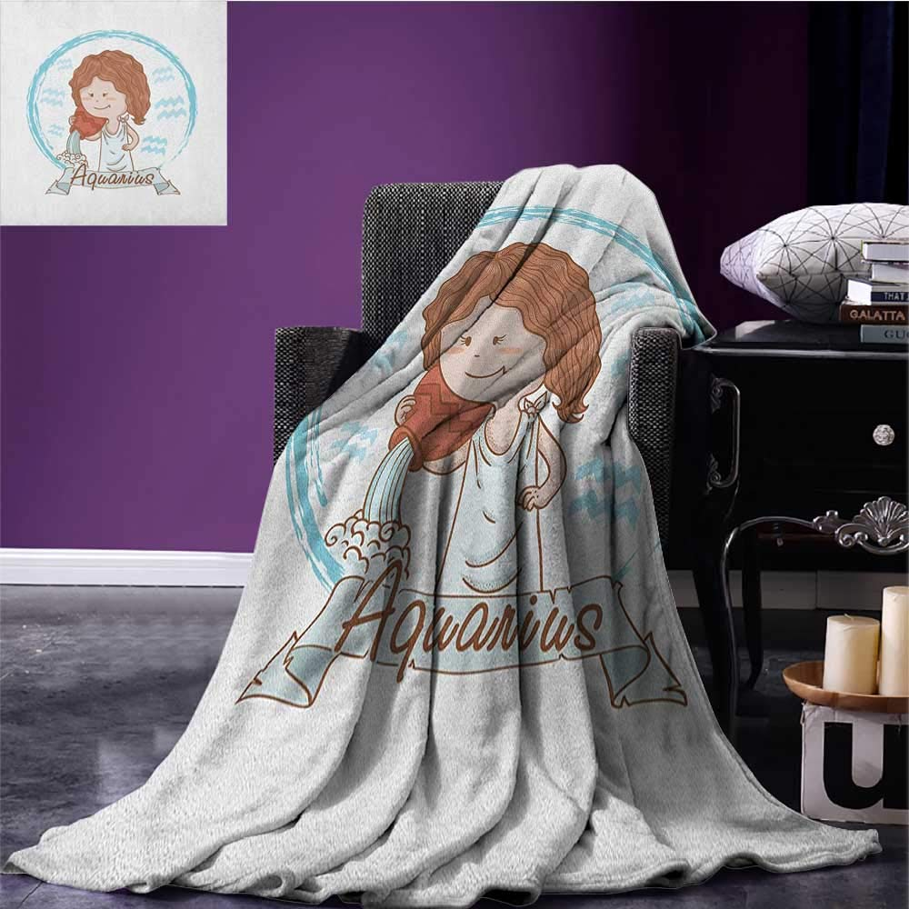 Zodiac Aquarius cool blanket Little Astrology Girl with a Bucket Birthday Horoscope Character Pattern Cinnamon Pale Blue size:60''x80''