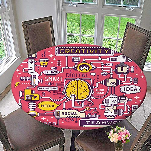 (PINAFORE HOME Round Tablecloth Vector Model Work Brain Center of The Company with Key Word and icon for Kitchen 63