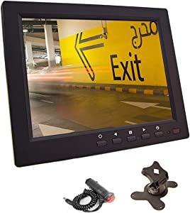 8 inch CCTV Monitor, TFT LCD Security Screen with VGA HDMI AV BNC USB Audio in/Out Ports Built-in Speaker, HD Display for Surveillance Camera STB 1024x768 Resolution with Car Power Adapter 12-24V