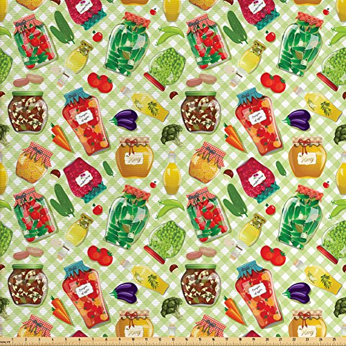 (Ambesonne Vintage Fabric by The Yard, Foods in Glass Jars on Checked Table Cloth Cucumber Tomato Eggplant Carrot Mushroom, Decorative Fabric for Upholstery and Home Accents, Multicolor)