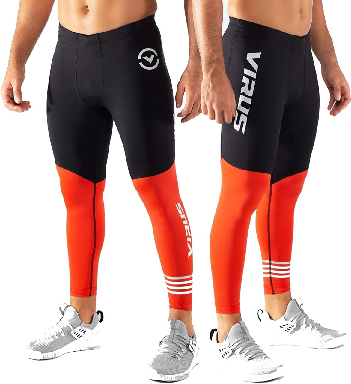 Virus Mens RX8.5 Stay Cool Compression Pants Black/Blood Orange (Black/Blood Orange, Large)