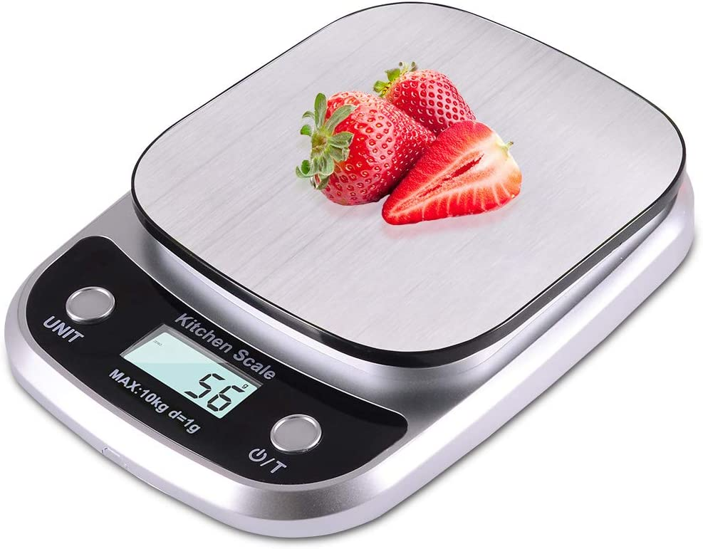 Fuzion Food Scale for Baking and Cooking, 22lb Kitchen Scale with Tare, Food Scale Grams and Ounces, 1g/0.1oz Increments, Stainless Steel (Battery Included)