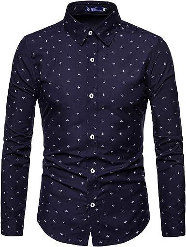 AOWOFS Camisa de verano de manga larga para hombre, corte regular, para el tiempo libre con diseño de ancla