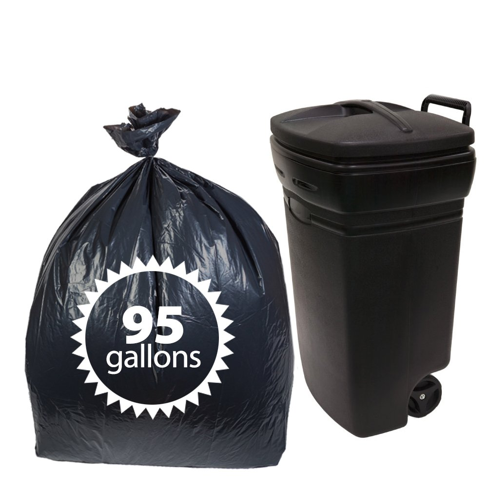 Primode Black Plastic 95 Gallon Trash Bags 25 Count Extra Heavy Duty Garbage Bag for Indoor Or Outdoor UseMADE in The USA by Primode