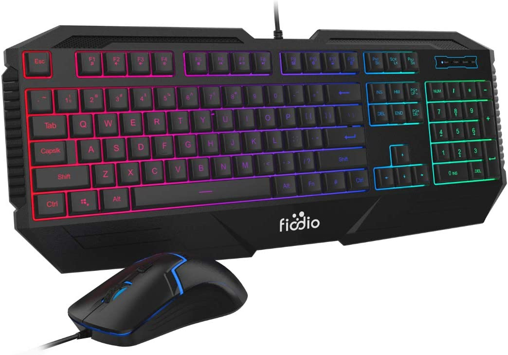 FIODIO Wired Gaming Keyboard and Mouse Combo, Rainbow Backlit Ergonomic Keyboards with 104 Multimedia Keys Wrist Rest, 1600 DPI Gamer Mouse for Windows PC and Desktop Computer (F-1100, Black)