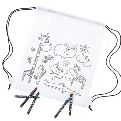 Lote de 10 Mochilas Infantiles para Colorear y Pintar, 5 Ceras de Colores Incluidas en Cada una. Regalo Ideal Eventos, Fiestas de cumpleaños: Equipaje