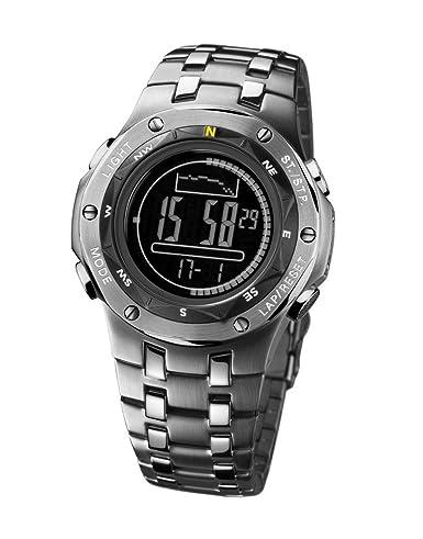 Caterpillar Navigo CA1612 - Reloj digital de caballero de cuarzo con correa de acero inoxidable plateada