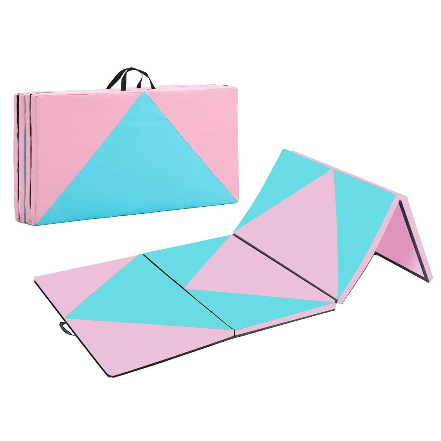 Max4out Folding Gymnastics Mat Exercise Tumbling Yoga Mats for Gym Fitness with Handle