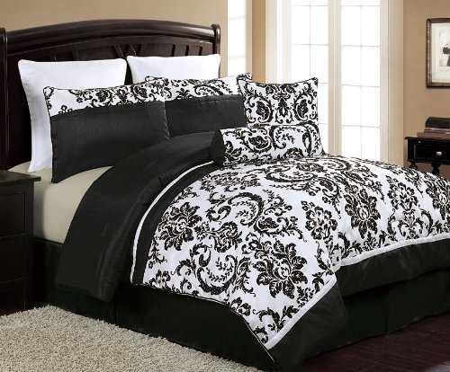 black and white comforter Amazon.com: VCNY Daniella 8 Piece Flocked Comforter Set, Black  black and white comforter