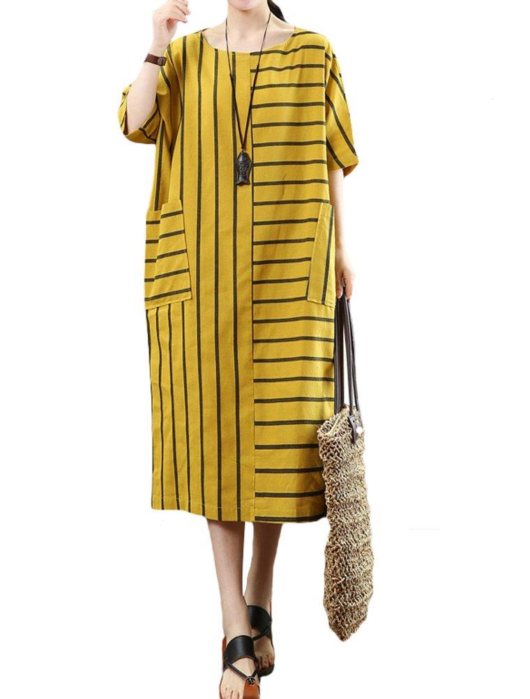 Mordenmiss Women's Linen Cotton Stripe Dress Summer Long Blouses with Pockets XL Yellow
