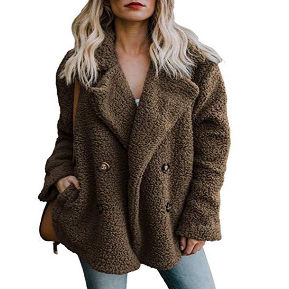 Seamido Womens Lapel Fleece Faux Shearling Coat Cardigan Outerwear