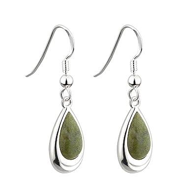 d56e37b8f13bb Connemara Marble Earrings Celtic Irish Teardrop Rhodium Plated Made in  Ireland