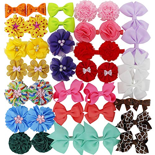 Girls Grosgrain Ribbon Boutique Hair Bows Flowers clips For Baby Teens Toddlers Set Of ()