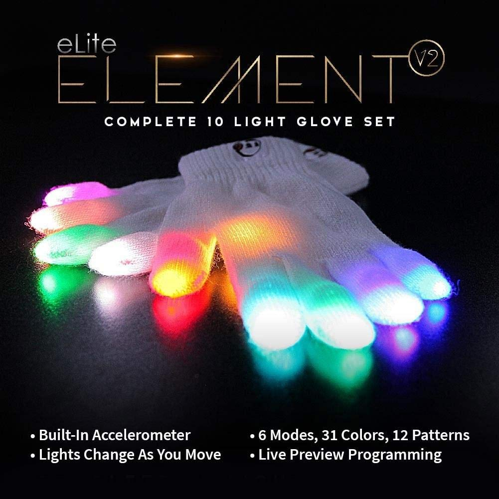 EmazingLights Elite Element Light Up Glove Set - Flashing Finger Light LED Gloves for Raves & Light Shows Featured on Shark Tank by EmazingLights (Image #3)