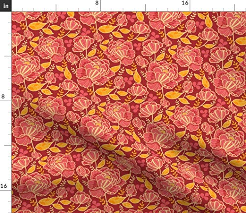 Red Rose Fabric - Beautiful Garden Floral Abstract Home Decor Oriental Nature Flower Spring Plants Print on Fabric by The Yard - Petal Signature Cotton for Sewing Quilting Apparel Crafts Decor