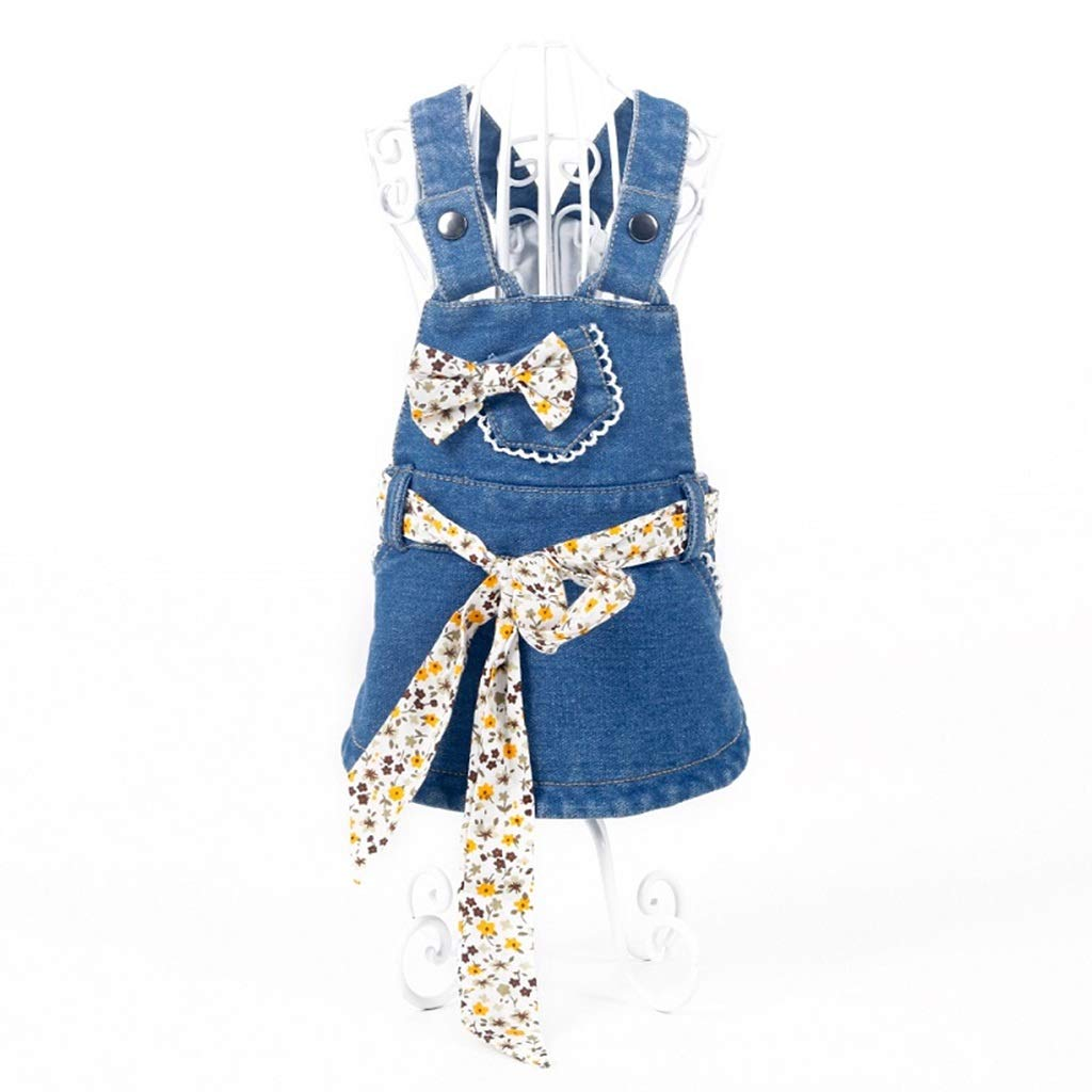 L Pet Clothes,Dog Clothes,Outwear Costume for Dogs,Spring and Summer Denim Skirt Pet Clothes Big Bowknot Small Dog Polyester bluee (Size   L)