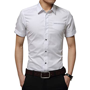Herren Sommer Casual Kurzarm Business Hemden Kontrast Kragen Slim Fit  Oberhemd M L XL cd41a68fbb