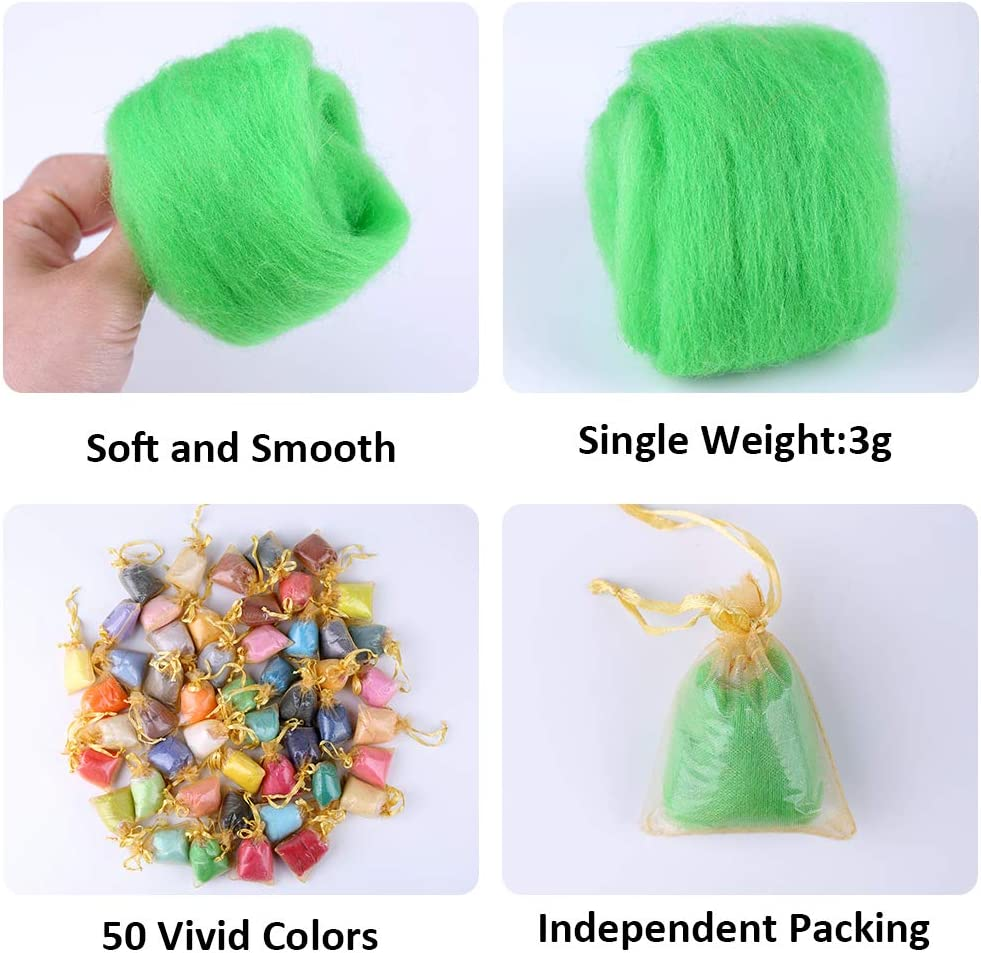 50 Colors Wool Roving Pick Any Colours Fibre Wool Yarn Roving for Needle Felting Needle Felting Wool in Organza Gift Bags DIY Craft or Holiday Gifts Hand Spinning