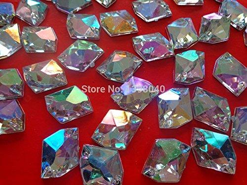 Acryl Crystal - 100pcs 16x20mm AB Colour sew on Acryl Crystal Rhinestones Accessory Gemstone Beads Cosmic Shape Flatback