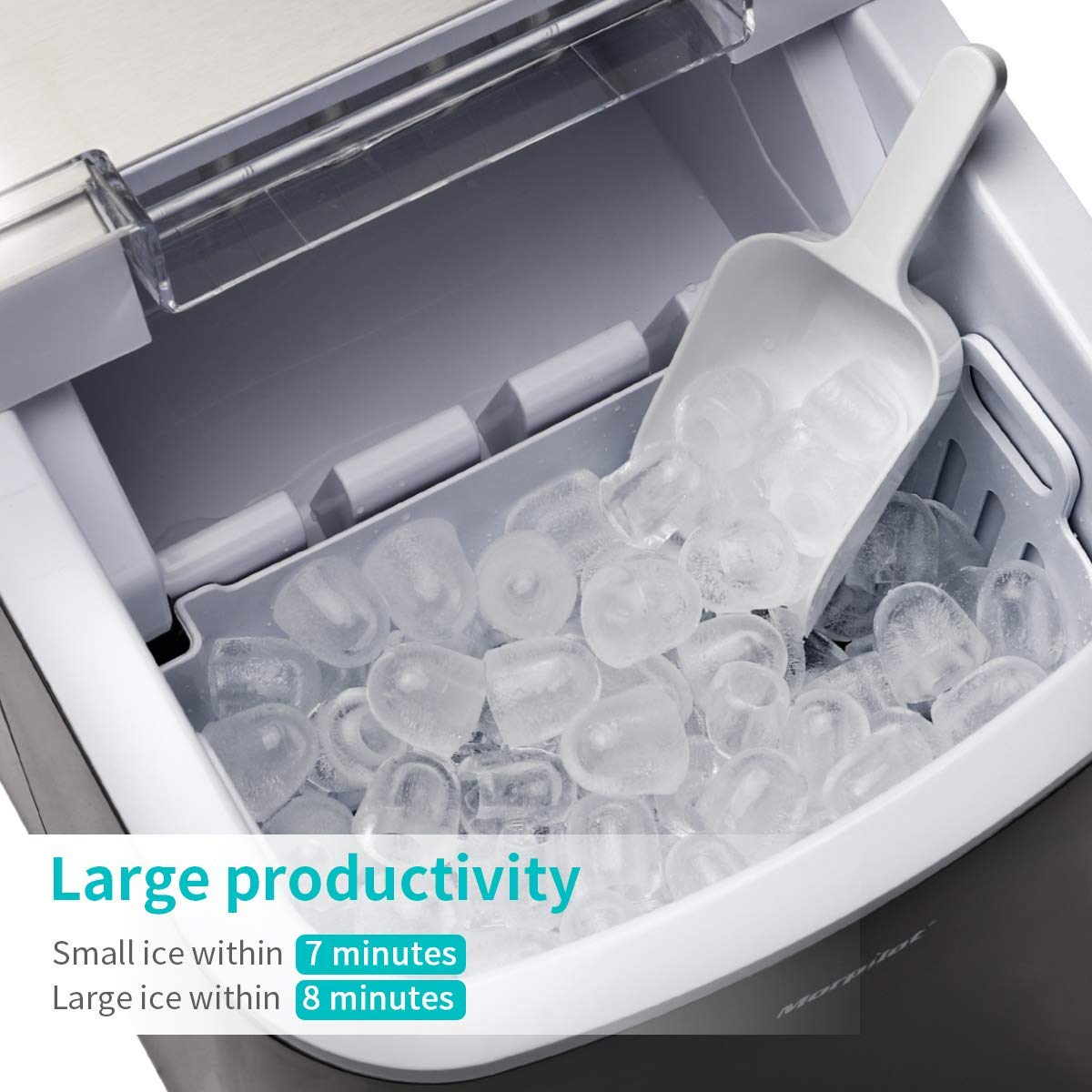 Ice Maker Machine, Ice Cube Maker, 2.1L Large Counter Top Ice Machine, 2 Size Ice Cube in 7 Mins, 12kg Ice in 24Hrs, LCD Display, Scoop and Removable Basket, No Plumbing Required, Auto Cleaning, 120W