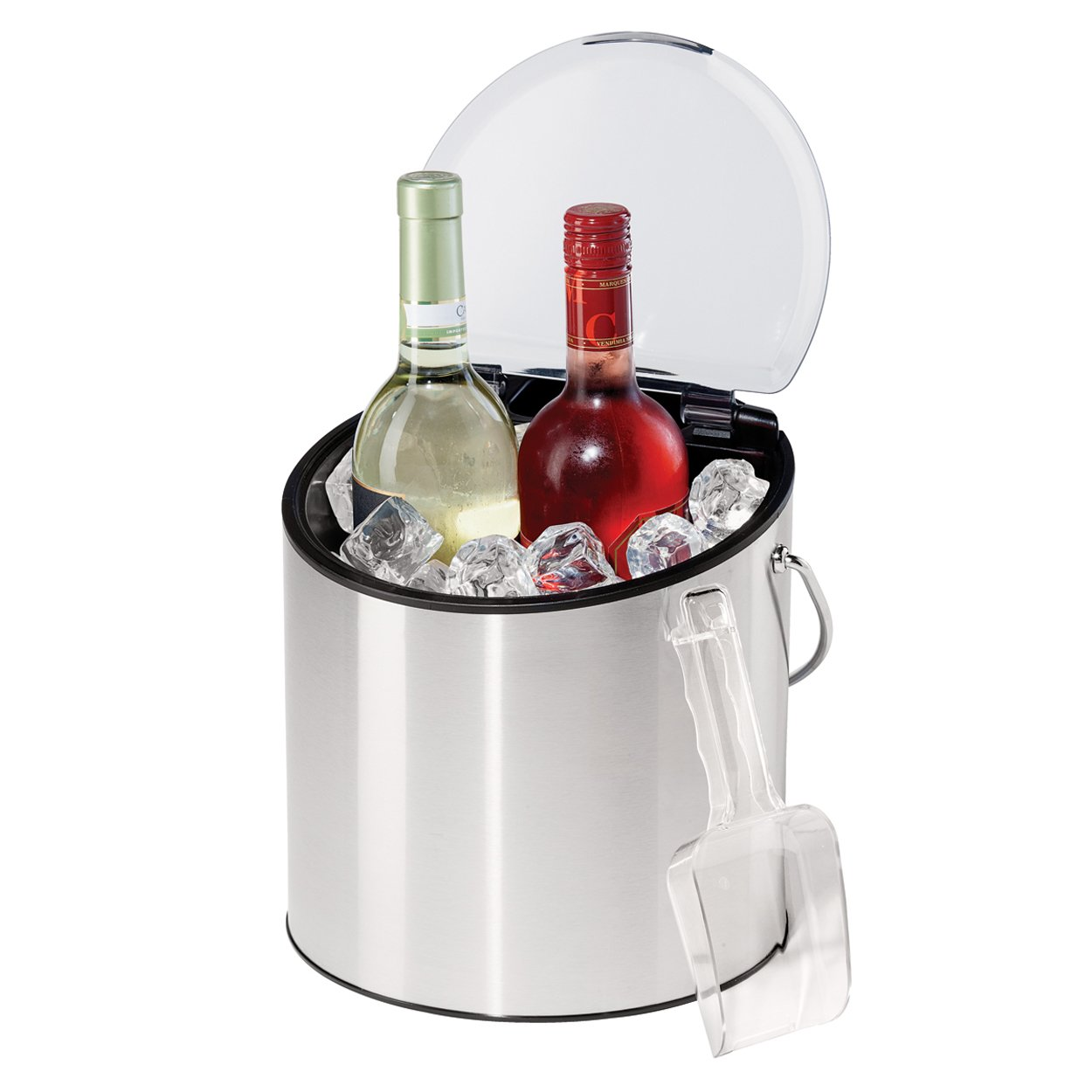 Oggi 7440 Stainless Steel Ice and Wine Bucket with Flip Top Lid and Ice Scoop Holds 2 Bottles