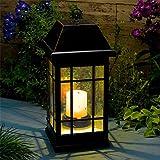 """Solarlaterne """"La Candela"""" mit LED's an der Decke und einer Kerzen-LED"""