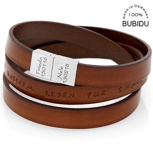 üppiges Design neues Erscheinungsbild ausgereifte Technologien Herren Armband Gravur Leder braun Mann Lederarmband ...