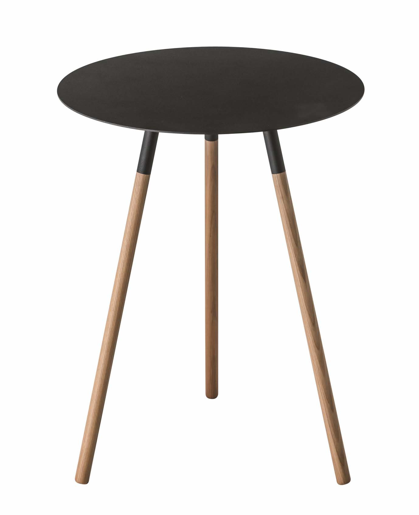 Red Co. Wood & Steel Mid-Century Modern Round Side Table in Black Finish by Red Co.