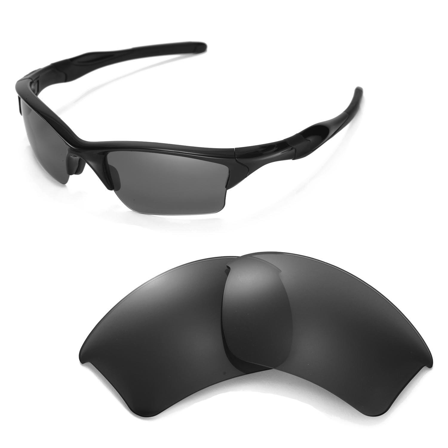 Walleva Replacement Lenses for Oakley Half Jacket 2.0 XL Sunglasses - Multiple Options Available (Black - Polarized) by Walleva